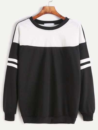 Color Block Striped Drop Shoulder Sweatshirt