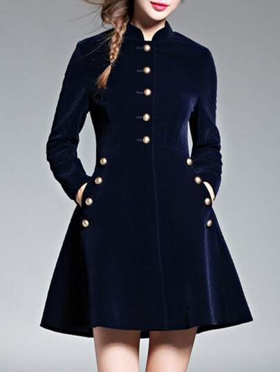 Navy Velvet Pockets A-Line Dress
