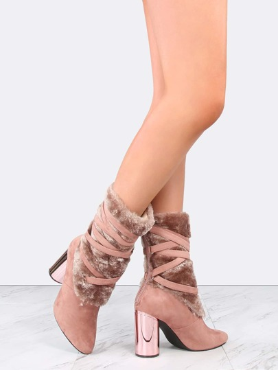 Wrapped Faux Fur Suede Booties DUSTY ROSE