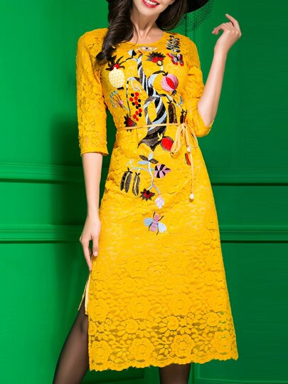 Yellow Embroidered Tie-Waist Split Lace Dress