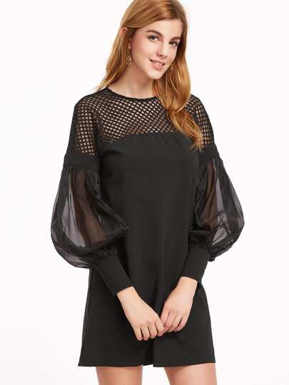Black Eyelet Mesh Shoulder Sheer Bishop Sleeve Dress