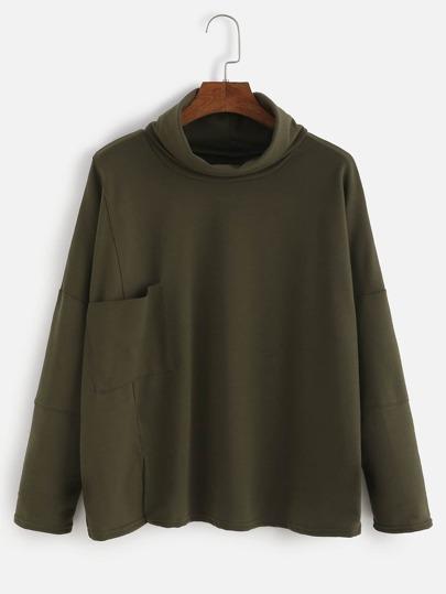 Camiseta con cuelo alto y bolsillo - verde militar