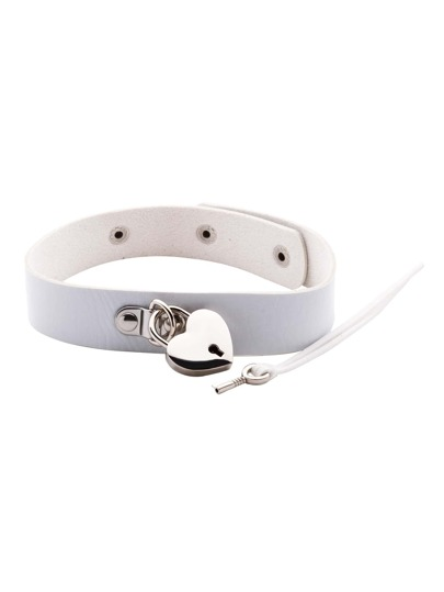 White PU Leather Metal Heart Choker Necklace With Key
