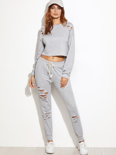 Top corto con pantalones rotos y cordón en la cintura - gris