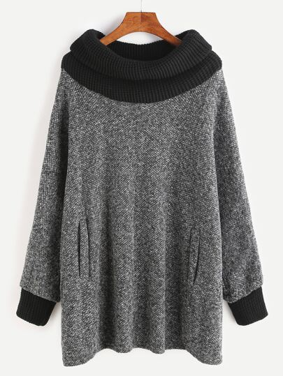 Grey Contrast Knit Trim Pockets Sweatshirt
