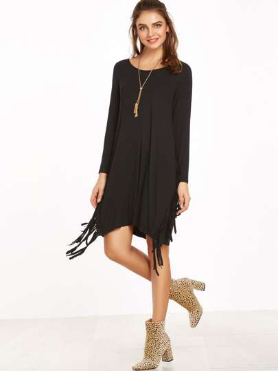 Black Long Sleeve Fringe Dress
