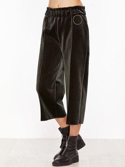 Dark Green Elastic Waist Wide Leg Velvet Pants