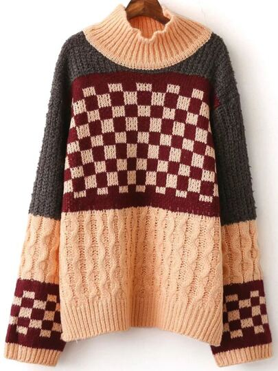 Color Block Mock Neck Check Sweater
