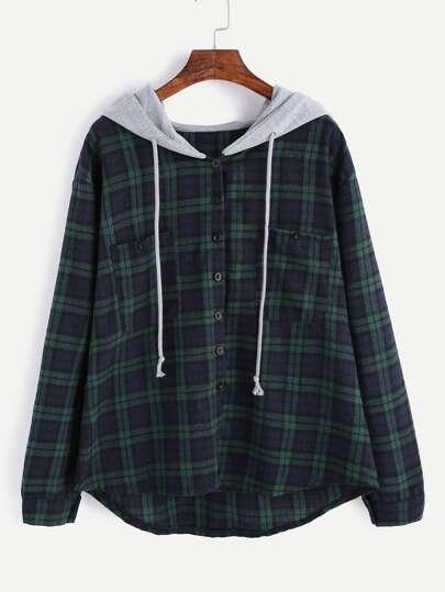 Sweat-shirt en écossais avec bouton et poche capuche contrasté