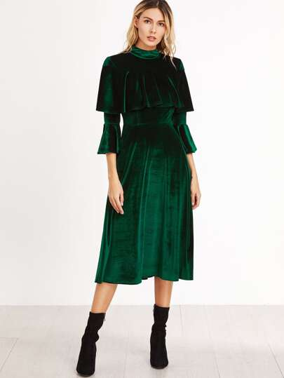 Green Ruffle Trim Bell Sleeve Velvet Midi Dress