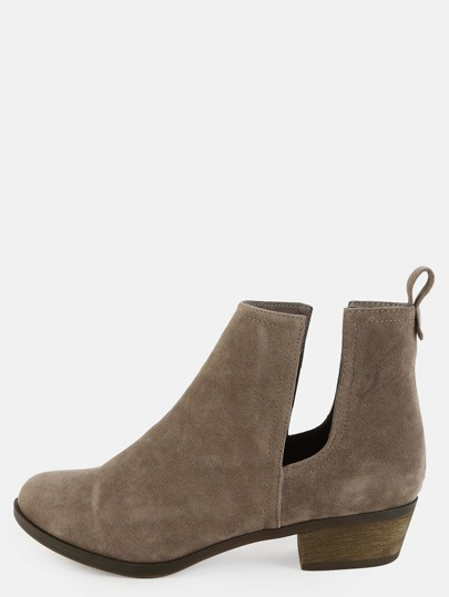 Almond Toe Suede Short Boots BEIGE