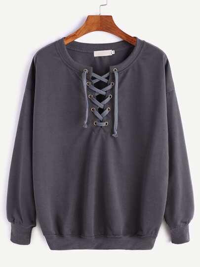 Sweat-shirt à nervures élancé à l'épaule laissé à lacet -gris foncé
