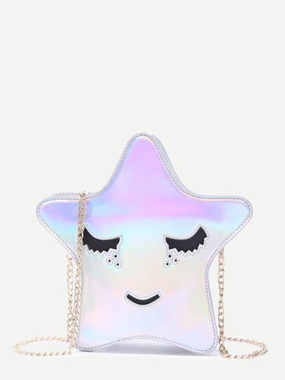 Sac mignon brillant forme d'étoile avec chaîne - argenté