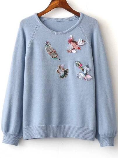 Blue Embroidery Raglan Sleeve Sweater With Sequin