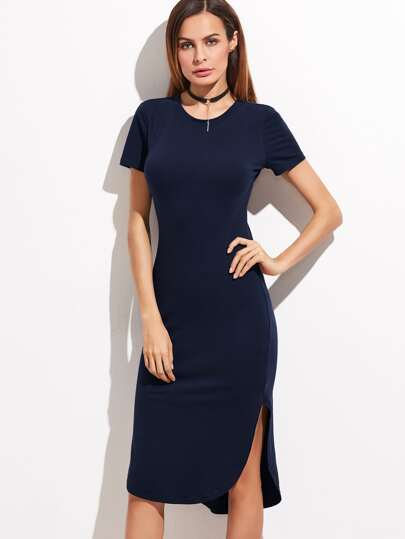 Navy Short Sleeve Curved Hem Sheath Dress