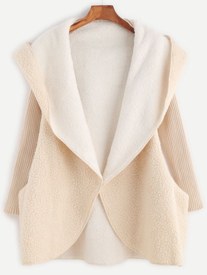 Apricot Ribbed Sleeve Hooded Sherpa Coat