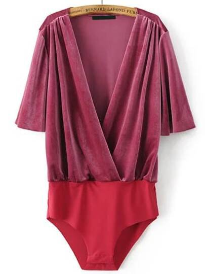 Red Deep V Neck Half Sleeve Velvet Bodysuit