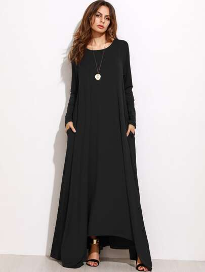 Black Long Sleeve Shift Maxi Dress