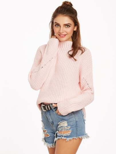 Pink Funnel Neck Drop Shoulder Eyelet Sweater