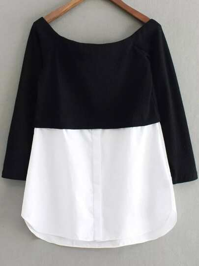 контрастная блуза с открытыми плечами
