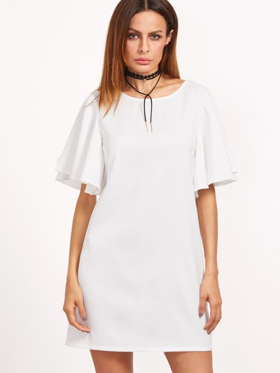 White Tied V Back Ruffle Sleeve Dress
