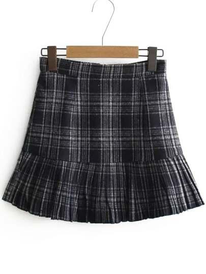 Navy Plaid Ruffle Hem Skirt