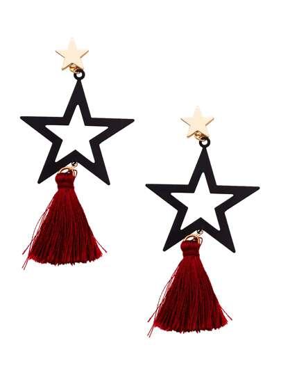 Black Star Red Tassel Hollow Out Drop Earrings