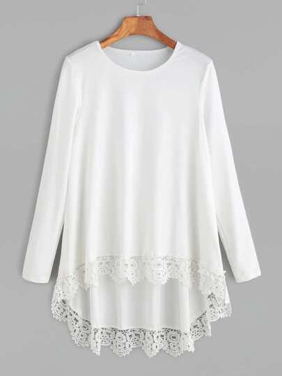 T-shirt avec dentelle contrasté - blanc