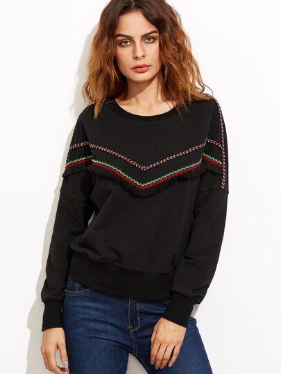 Black Embroidered Tape And Fringe Embellished Sweatshirt