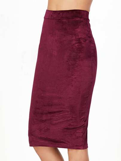 Burgundy High Waist Cord Pencil Skirt