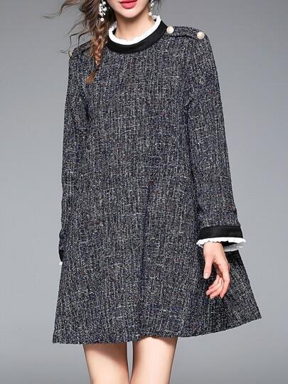 Dark Grey Pockets Shift Dress