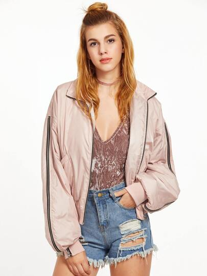 Pink Zip Detail Sleeve Bomber Jacket