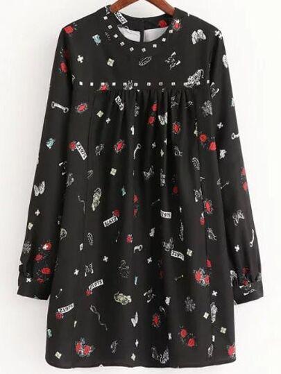 Black Printed Studded Detail Shift Dress