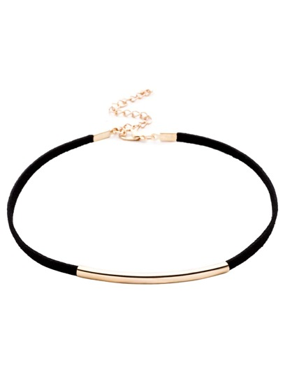 Black Metal Trim Skinny Choker Necklace