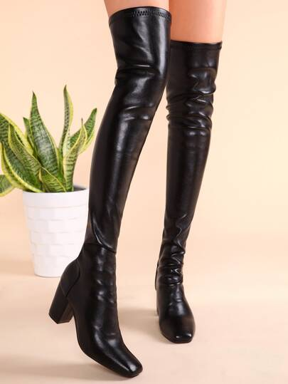 Black PU Square Toe Back Zipper Chunky Heel Thigh High Boots