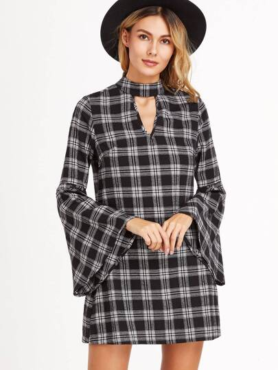 Black Plaid Keyhole Front Bell Sleeve Dress