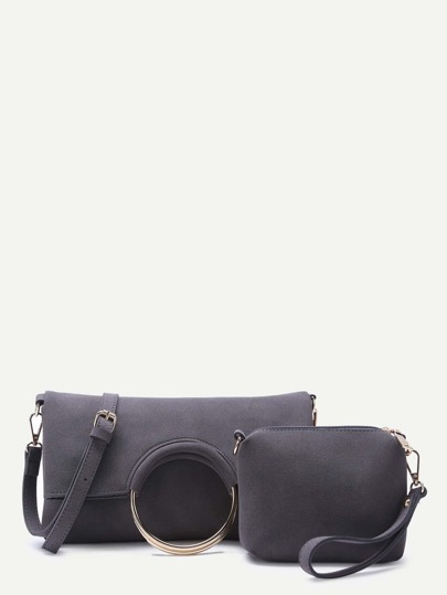 Grey Nubuck Leather Metal Ring Fold Over 2Pcs Bag Set