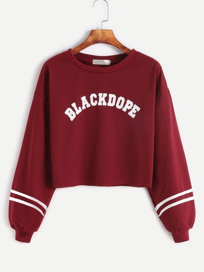 Burgundy Varsity Print Raw Hem Crop Sweatshirt