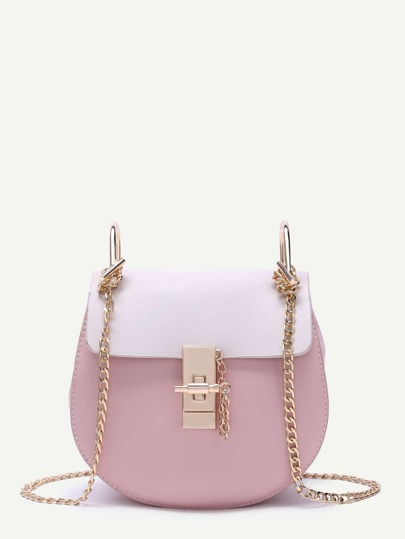 White And Pink Flap PU Saddle Bag With Golden Chain