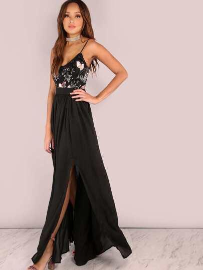 Sequin Floral Backless Maxi Double Slit Maxi Dress BLACK