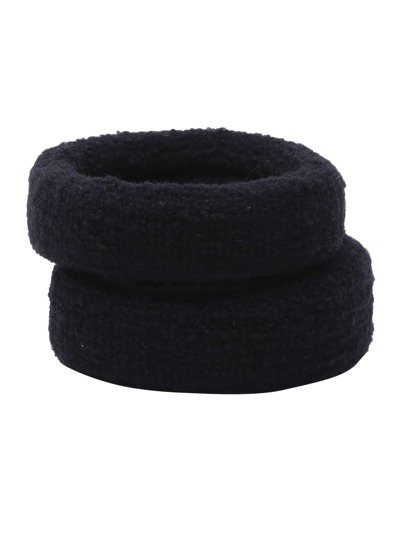 Black Wide Elastic Hair Tie Set 5Pcs