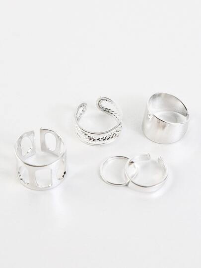 Twisted Metallic Ring Set SILVER