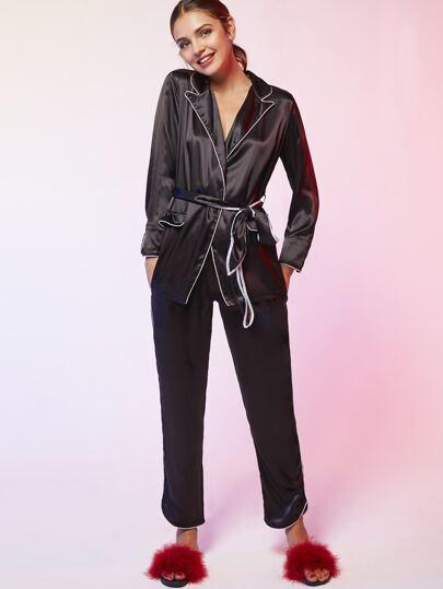 Pijama ribete en contraste con cinturón - negro