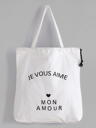 White Slogan Print Drawstring Plain Canvas Tote Bag