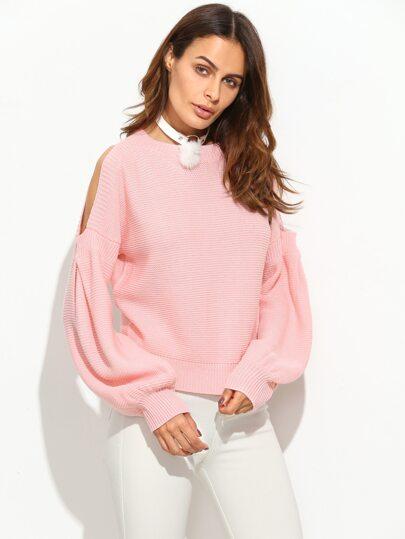 Pink Cold Shoulder Lantern Sleeve Sweater