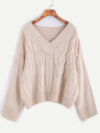 Apricot V Neck Drop Shoulder Cable Knit Sweater