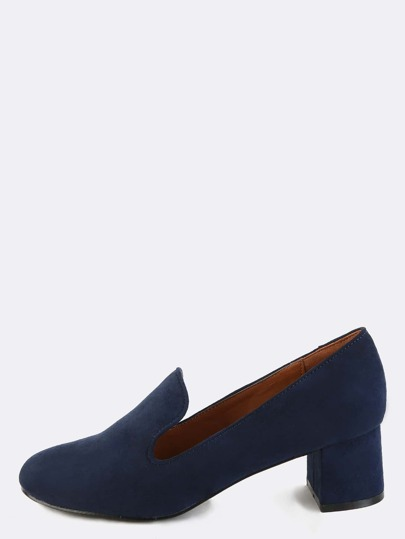 Faux Suede Block Heel Loafers NAVY