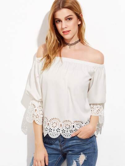 Scallop Laser Cut Out Bardot Neck Top