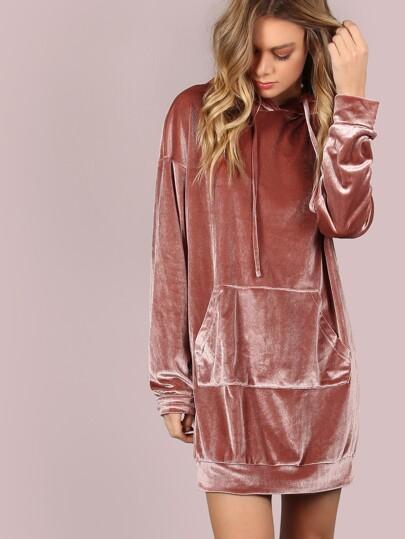 Robe à capuche à l'épaule laissé avec poche devant -rose