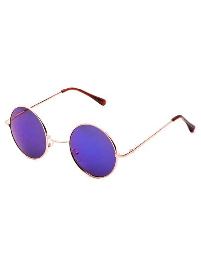 Gold Tone Smoke Lens Retro Style Sunglasses
